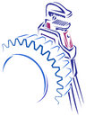 Steel gear and wrench tool line art image of Stock Image