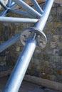 Steel girder with rockwalla background Royalty Free Stock Photo