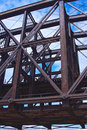Steel girders of a bridge span rusted hold up railroad in pittsburgh pennsylvania Royalty Free Stock Image
