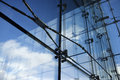 Steel and glass detail of modern architecture interior structures Royalty Free Stock Photos