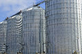 Steel grain silo on farm in rural setting american west Stock Photography