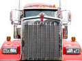 Steel grill of red truck Royalty Free Stock Images