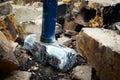 Steel Hammer Demolish Bricks Royalty Free Stock Photo