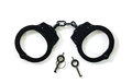 Steel handcuffs with the keys over white background Royalty Free Stock Photography