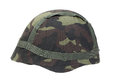 Steel helmet with camouflaged cover Stock Images