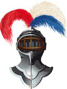 Steel helmet with feathers knights colorful plumage and a raised visor Stock Photography