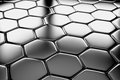 Steel hexagons flooring diagonal view metal surface shiny abstract industrial background Stock Image
