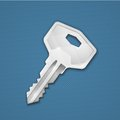 Steel key on blue background security concept vector illustration Royalty Free Stock Photography