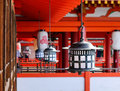 Steel lanterns hanging at the temple in Kyoto, Japan Royalty Free Stock Photo
