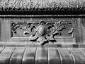 Steel leaf motif decoration this is a symmetrical of a on a fountain in montreal Stock Image