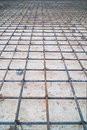 Steel mesh construction on a rainy day Stock Photo
