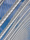 Steel pattern Roof grill Geometric form Architecture details Blue sky background Royalty Free Stock Photo