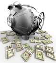 Steel piggy bank Royalty Free Stock Images