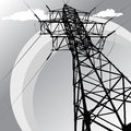 Steel pillar vector silhouette of high voltage power lines and pylon Stock Photos