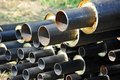 Steel pipe with heat insulation Stock Photos