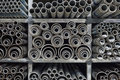 Steel pipes background Royalty Free Stock Photo