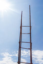 Steel poles for construction on background sky with sunlight Stock Image
