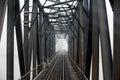 Steel railway bridge in black and white