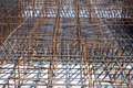 Steel reinforced rods or beams at construction site Royalty Free Stock Image