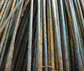 Steel rods used in construction old Stock Photography