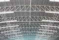 Steel roof large view from bottom to top Stock Photo