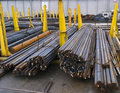 Steel round bars in warehouse Royalty Free Stock Photo