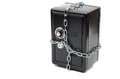Steel safe in chains saving your money over white background money insurance concept Royalty Free Stock Images