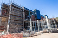 Steel scaffolding building construction new structures in of new durban solid waste processing plant mid way in Stock Photo