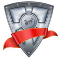 Steel shield with red ribbon Stock Photo