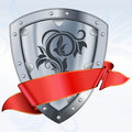Steel shield with ribbon Royalty Free Stock Image