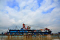 Steel ship a stopping in yangze river Royalty Free Stock Photography