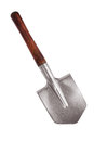 Steel shovel with a wooden handle Stock Photos