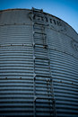 Steel silo cold reaching into the sky Royalty Free Stock Images