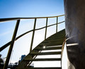 Steel spiral up stairs Royalty Free Stock Photo