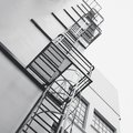 Steel Stairs Ladder Modern building Exterior Architecture detail Royalty Free Stock Photo