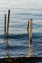 Steel Stakes On The Sea Royalty Free Stock Photo