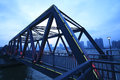 Steel structure bridge close up at night landscape scene Stock Photos
