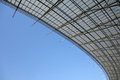 Steel structure roof under blue sky Stock Photos