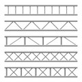 Steel truss girder seamless structure. Metal framework for billboard. Isolated vector set Royalty Free Stock Photo
