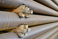 Steel tube pile of tubes industrial product used for oil and gas transport Royalty Free Stock Photography