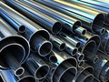 Steel tube pipe metal roll done in d Stock Images