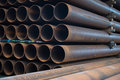 Steel tubes pile of out of pipe line construction Stock Photography