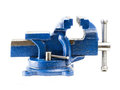 Steel vise blue on white background Royalty Free Stock Photography