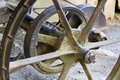 Steel wheel on a farm implement and gear an antique Royalty Free Stock Photography