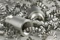 Steel workpiece and turnings Royalty Free Stock Image
