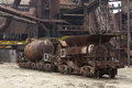Steel works carriage abandoned and rusty carriages part of iron not anymore in function it is a part of vitkovice in december Royalty Free Stock Image