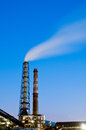 Steelworks steel mills smoke pollution in the evening Stock Photo