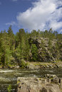Steep banks of the river rapid in northern finland Stock Photos
