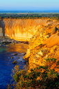 Steep cliffs along Australia Great Ocean Road Royalty Free Stock Photo