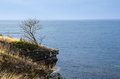 Steep at coast limestone cliffs by the of baltic sea in sweden Stock Images